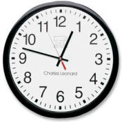 "CLI® 12"" Round Quartz Wall Clock, Plastic Case, Black"