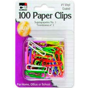 CLI® No 1. Vinyl-Coated Paper Clips, Assorted, 100/Pack