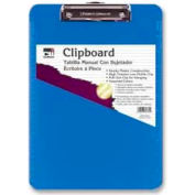 "CLI® Rubber Grip Clipboard, 8-1/2"" x 11"", Neon Blue"