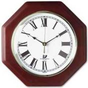 "Chicago Lighthouse 12"" Octagon Quartz Wall Clock, Wood Case, Mahogany"
