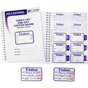 """C-Line® Time's Up! Self-Expiring Visitor Badge with Registry Log, 3"""" x 2"""", 150/Pack"""