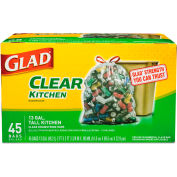 Glad® Recycling Tall Kitchen Drawstring Trash Bags - Clear, 13 Gallon, 0.9 Mil, 45/Box - 78543