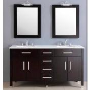 """Cambridge Plumbing Plum 72"""" Double Basin Sink Vanity Set W/Porcelain Countertop"""