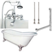 "Cambridge Plumbing Bathtub Set W/Cast Iron Slipper Clawfoot Tub 61"" X 30"" & 7"" Deck Mount Faucet"