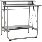 OneSpace 50-1010QA Freeley Folding Computer Desk, Black/Silver