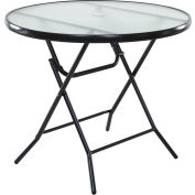 "OneSpace Basics 34"" Round Glass Folding Patio Table - Clear with Black Frame"