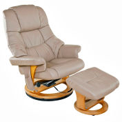 Relaxzen 8-Motor Massage Recliner with Heat and Ottoman - PU Leather - Beige