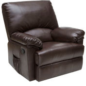Relaxzen Rocker Leather Recliner with Heat and Massage - Brown Marbled