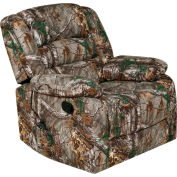 Relaxzen Rocker Massage Recliner with Heat and USB - Microfiber - Realtree Camo