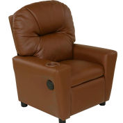 Relaxzen Youth Recliner with Cup Holder and Dual USB - PU Leather - Brown