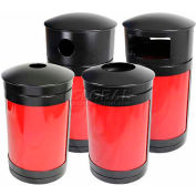 SECURR® Guardian 35 Gal. Outdoor Waste Receptacle - Two Tone Black with Red Panels