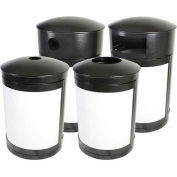SECURR® Guardian 55 Gal. Indoor Waste Receptacle - Two Tone Black with Red Panels