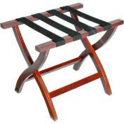 Premier Curved Wood Flat Top Luggage Rack, Mahogany, Black Straps, 3 Pack - Pkg Qty 3