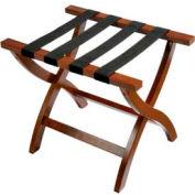 Premier Curved Wood Flat Top Luggage Rack, Walnut, Black Straps, 3 Pack - Pkg Qty 3