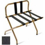 Luxury High Back Black Luggage Rack w/ Back Strap, Black Straps, 6 Pack - Pkg Qty 6