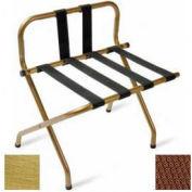 Luxury High Back Brasstone Luggage Rack w/ Back Strap, Brown Straps, 6 Pack - Pkg Qty 6