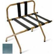 Luxury High Back Chrome Luggage Rack w/ Back Strap, Black Straps, 1 Pack