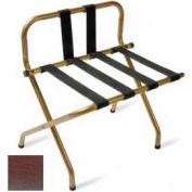 Luxury High Back Walnut Luggage Rack w/ Back Strap, Black Straps, 6 Pack - Pkg Qty 6