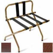 Luxury High Back Walnut Luggage Rack w/ Back Strap, Brown Straps, 1 Pack
