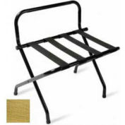 High Back Brasstone Luggage Rack with Black Straps, 1 Pack
