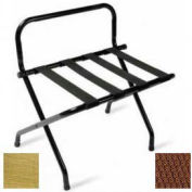 High Back Brasstone Luggage Rack with Brown Straps, 6 Pack - Pkg Qty 6