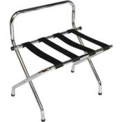 High Back Chrome Luggage Rack with Black Straps, 6 Pack - Pkg Qty 6