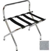 High Back Chrome Luggage Rack with Silver Straps, 6 Pack - Pkg Qty 6