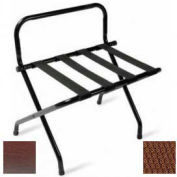 High Back Walnut Luggage Rack with Brown Straps, 6 Pack - Pkg Qty 6