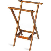Tray Stand, deluxe, with Bottom Strap only, Wood, Brown Straps, (Single Pack)