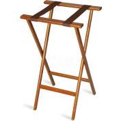 Economy Tray Stand, Brown Straps, Wood, Dark Walnut Stain Finish, (Single Pack)