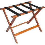 Deluxe Flat Top Wood Luggage Rack, Cherry Mahogany, Black Straps 1 Pack