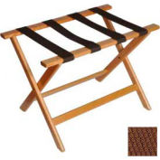 Deluxe Flat Top Wood Luggage Rack, Light Oak, Brown Straps 5 Pack - Pkg Qty 5