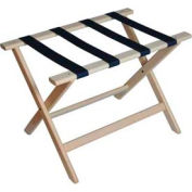 Deluxe Flat Top Wood Luggage Rack, Whitewash Finish, Navy Blue Straps 5 Pack - Pkg Qty 5