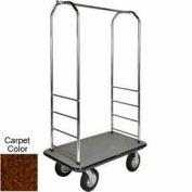 "Easy Mover Bellman Cart Chrome, Brown Carpet, Black Bumper, 8"" Black Pneumatic"
