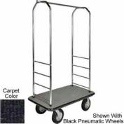 "Easy Mover Bellman Cart Chrome, Black Carpet, Black Bumper, 5"" Gray Poly"