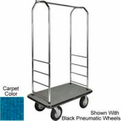 "Easy Mover Bellman Cart Chrome, Blue Carpet, Black Bumper, 5"" Gray Poly"
