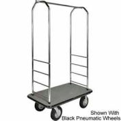 "Easy Mover Bellman Cart Chrome, Gray Carpet, Black Bumper, 5"" Gray Poly"