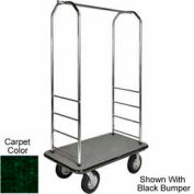 "Easy Mover Bellman Cart Chrome, Green Carpet, Gray Bumper, 8"" Black Pneumatic"