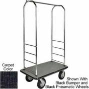 "Easy Mover Bellman Cart Chrome, Black Carpet, Gray Bumper, 5"" Gray Poly"