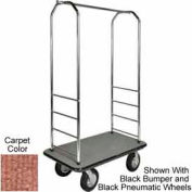 "Easy Mover Bellman Cart Chrome, Tan Carpet, Gray Bumper, 5"" Gray Poly"
