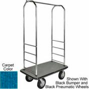 "Easy Mover Bellman Cart Chrome, Blue Carpet, Gray Bumper, 8"" Poly"