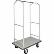 "CSL Economy Bellman Cart Silver Metallic, Gray Carpet & Black Bumper, 6"" Pneu"