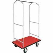 "CSL Economy Bellman Cart Silver Metallic, Red Carpet, Black Bumper, 6"" Pneumatic"