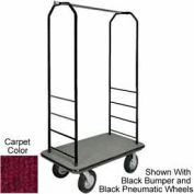 "Easy Mover Bellman Cart Black, Red Carpet, Gray Bumper, 5"" Gray Poly"