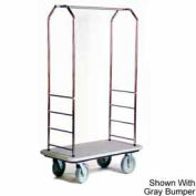 "Easy Mover Bellman Cart Stainless, Gray Carpet, Black Bumper, 5"" Gray Poly"