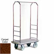 "Easy Mover Bellman Cart Stainless Steel, Brown Carpet, Gray Bumper, 8"" Gray"