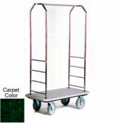 "Easy Mover Bellman Cart Stainless, Green Carpet, Gray Bumper, 8"" Gray Poly"