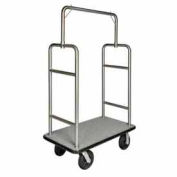 "HD Square Bellman Cart Stainless, Gray Carpet, Black Bumper, 8"" Black Pneumatic"