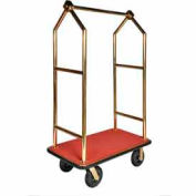 "CSL HD Angled Bellman Cart Titanium, Red Carpet, Black Bumper, 8"" Black Pneumatic"