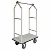 "HD Angled Bellman Cart Stainless, Gray Carpet, Black Bumper, 8"" Black Pneumatic"